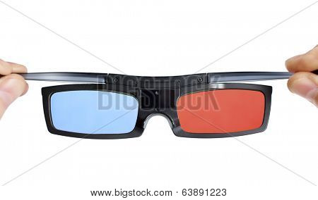 cinema 3d anaglyph glasses in hands isolated