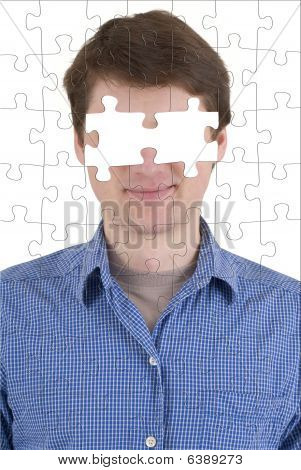 Unknown Person With Puzzle Effect And Absence Of Eyes