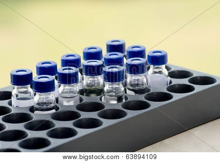 Sample vials arrange in instrumental analysis tray