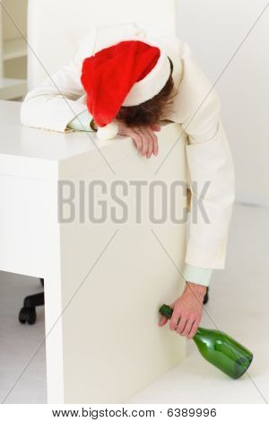 Drunk Businessman During Celebrating Of New Year