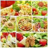 stock photo of mimosa  - a collage of different salads - JPG