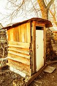 image of outhouse  - Old wooden outhouse in the russian countryside - JPG