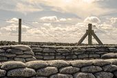 stock photo of battlefield  - Trenches of world war one sandbags in Belgium - JPG