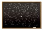 picture of cartoon people  - school black board with childish chalk drawing of people - JPG