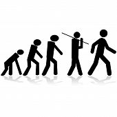 stock photo of evolve  - Concept illustration showing stick figures evolving from a monkey to a man - JPG