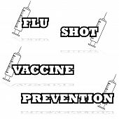 image of flu shot  - Icon illustration showing a syringe beside words such as flu shot and vaccine - JPG