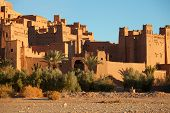 foto of fortified wall  - Ait Benhaddou is a fortified city - JPG