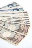 pic of yen  - Many of the Japanese yen bank notes currency - JPG