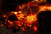 foto of ember  - Fire and embers in the wood stove - JPG