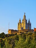 image of sacred heart jesus  - Temple of the Sacred Heart of Jesus on Tibidabo Mountain in Barcelona Catalonia Spain - JPG