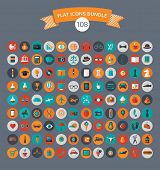 Huge collection of flat vector icons with modern colors of travel, marketing,  hipster ,science, education ,business ,money ,shopping, objects, food poster