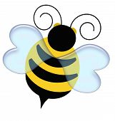 pic of bumble bee  - black and yellow bumble bee on white illustration - JPG