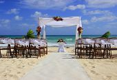 stock photo of altar  - Wedding preparation on a mexican beach  - JPG