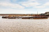 stock photo of dredge  - Dredge on the lake Extraction of sand for construction - JPG