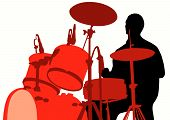 pic of drum-set  - Vector drawing rights for the drum set during a concert - JPG