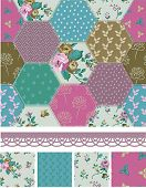 stock photo of fill  - Pretty Vector Patchwork Floral Seamless Patterns and Elements - JPG