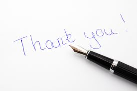 image of thank you note  - thank you message on paper with pen - JPG
