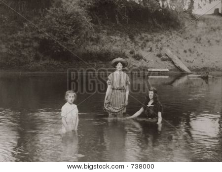 Vintage Women and Girls Swimming