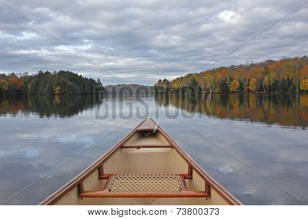 Canoe Bow On An Autumn Lake