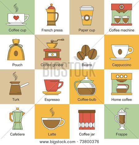 Coffee icons flat