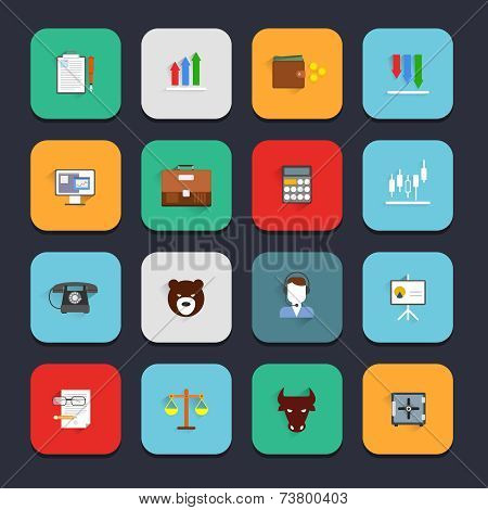 Finance exchange icons flat