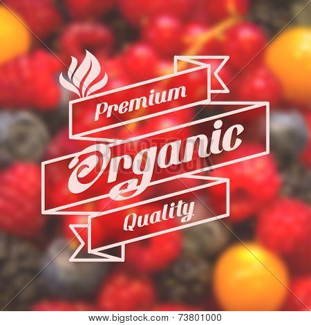 Label for organic healthy food on background with blurred effect