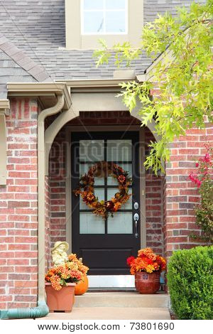 Large fall wreath on a door