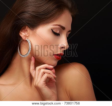 Beautiful Woman Face Profile With Closed Eyeliner Eyes.