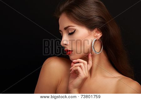 Beautiful Woman Makeup Face Profile With Closed Eyes. Black Eyeliner And Red Lipstick.