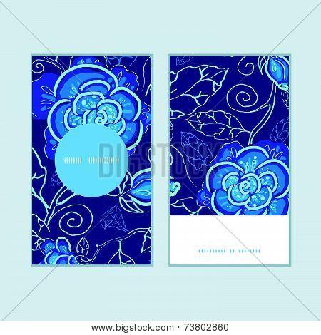 Vector blue night flowers vertical stripe frame pattern tags set