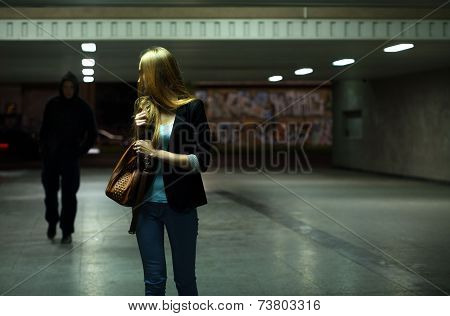 Afraid Woman In The Subway