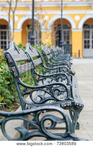 Park Benches In A Row