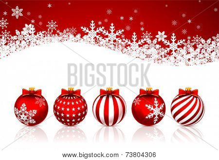 Five Red ?hristmas Balls on white background. Vector illustration.