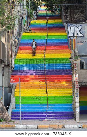 Rainbow Steps In Bohemian Neighborhood