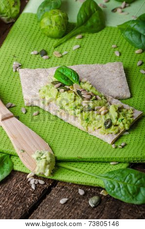 Home Avocado Spread On Crispbread With Seeds
