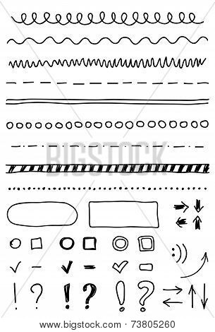 Vector Marker Elements, Hand Drawing