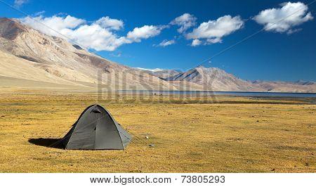 Tent In Himalayan Mountains - Near Tso Moriri Lake