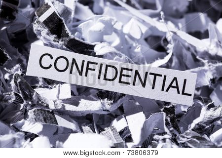scraps of paper with the heading confidential, symbol photo for data destruction, banking secrecy and confidentiality
