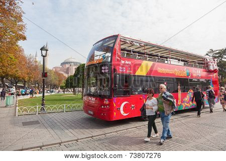 Tourist Bus In Sultanahmet Square