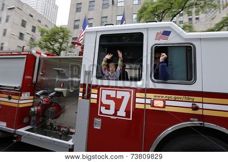 FDNY engine with little rider