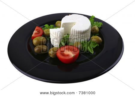 Soft Feta Cheese Served With Tomato