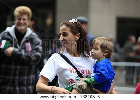 Mom & son marching