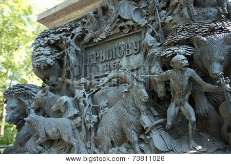 Fragment Of Pedestal Of Monument To Ivan Krylov In The Summer Garden, St Petersburg