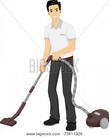 Illustration Featuring a Man Using a Vacuum Cleaner