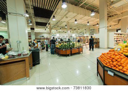 Dubai - AUGUST 8, 2014: Dubai Supermarket Waitrose on August 8 in Dubai, UAE. Dubai Supermarket Waitrose is the largest supermarket in Dubai