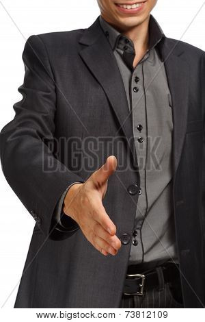 Businessman Holding Hand For Handshake