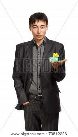 Businessman With Gift Box In Hand