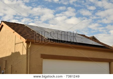 Solar Panel On Roof Of New Home