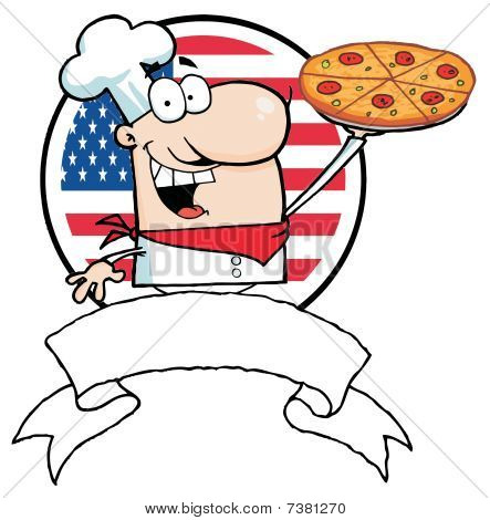 Male Chef Holding Up A Pizza Pie Over A Blank Banner And Round American Flag