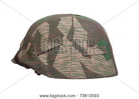 camouflaged german ww2 helmet isolated on white